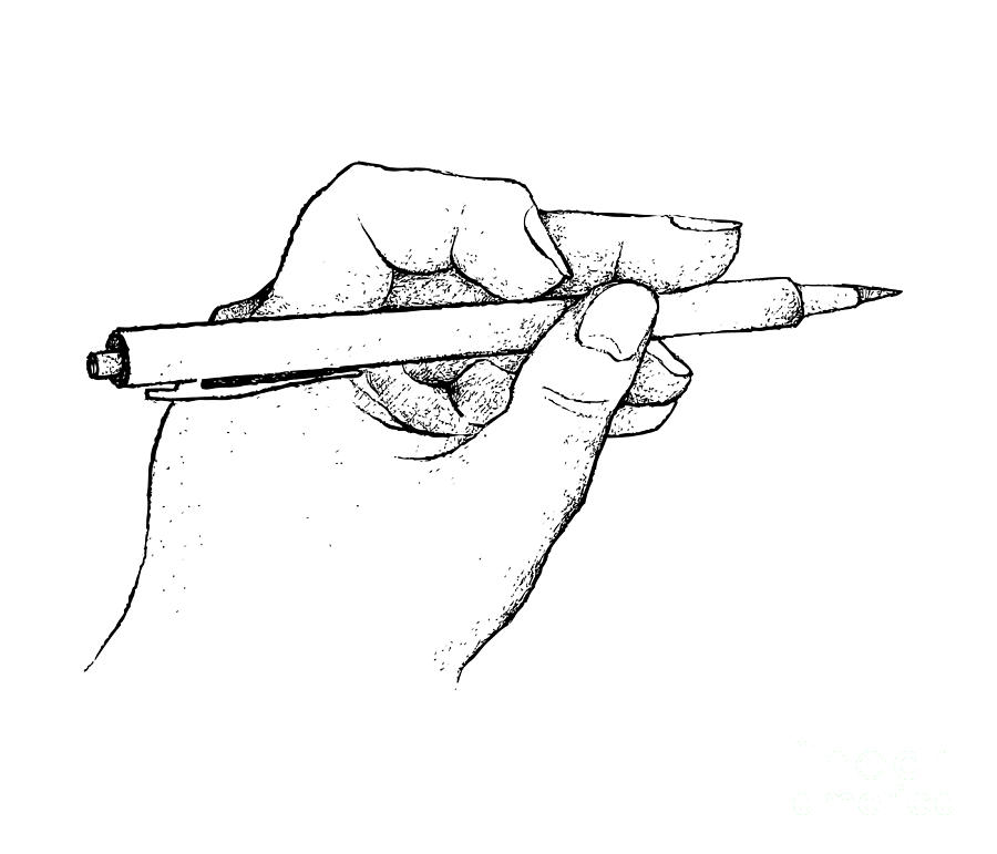 Hand Holding A Pen Writing On Paper