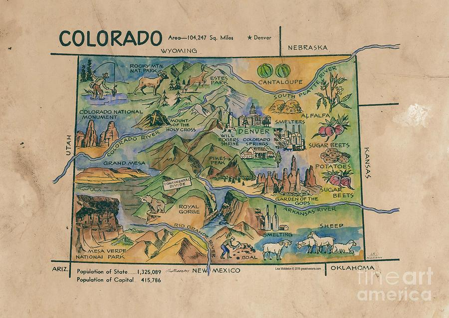 Hand Painted Kid S Map Colorado Painting By Lisa Middleton