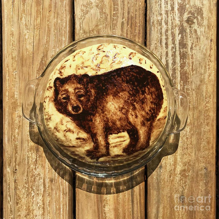 Hand Painted Sourdough Bear Boule 1 by Amy E Fraser