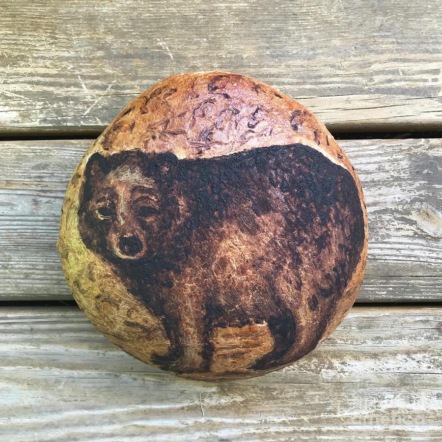 Hand Painted Sourdough Bear Boule 2 by Amy E Fraser