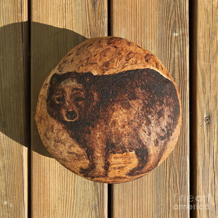 Hand Painted Sourdough Bear Boule 3 by Amy E Fraser