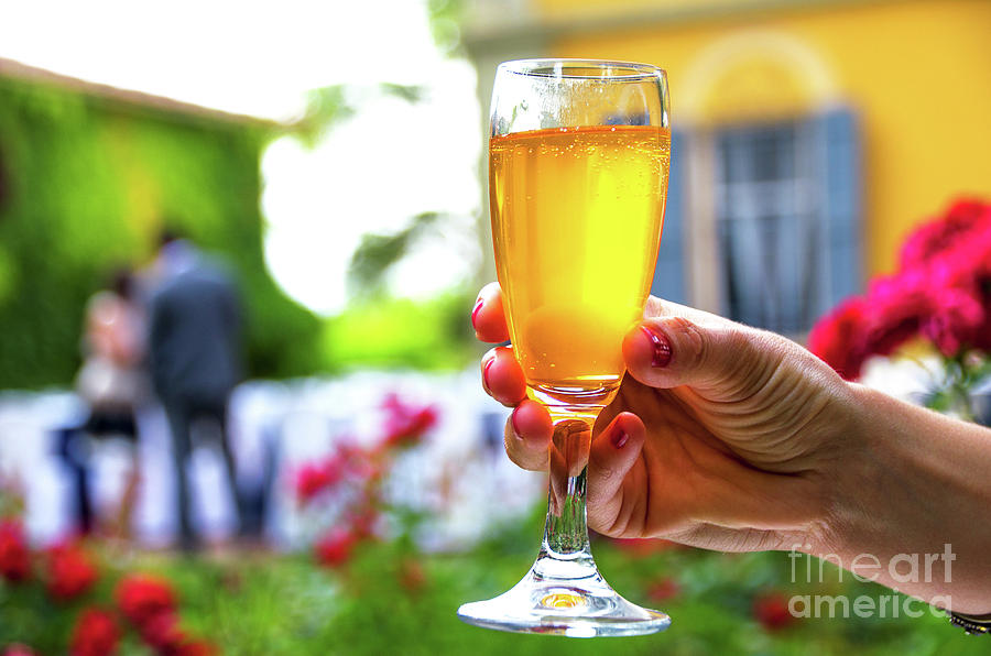 hand stem glass background woman drinking alcohol wine aperitif by Luca Lorenzelli