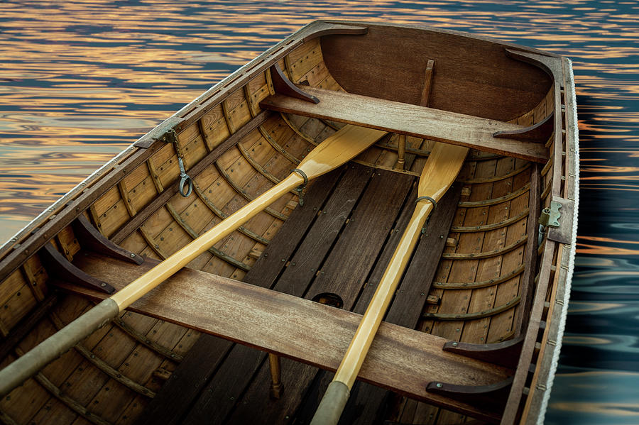 Handcrafted Wooden Rowboat With Oars Photograph by Gary S Chapman