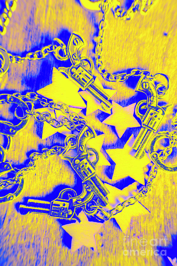 Sheriff Photograph - Handguns, Chains And Handcuffs by Jorgo Photography - Wall Art Gallery