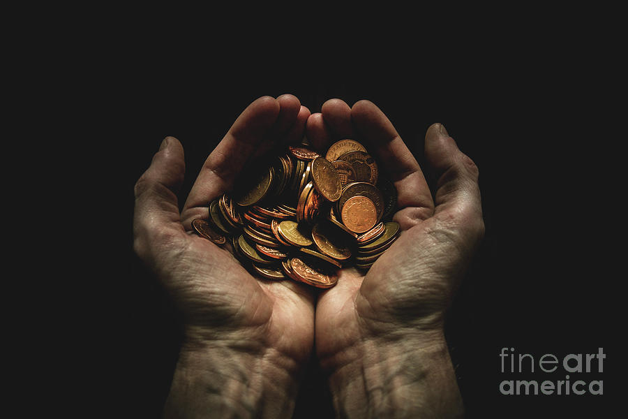 Hands Holding Coins Against Black Photograph by Andy Kirby