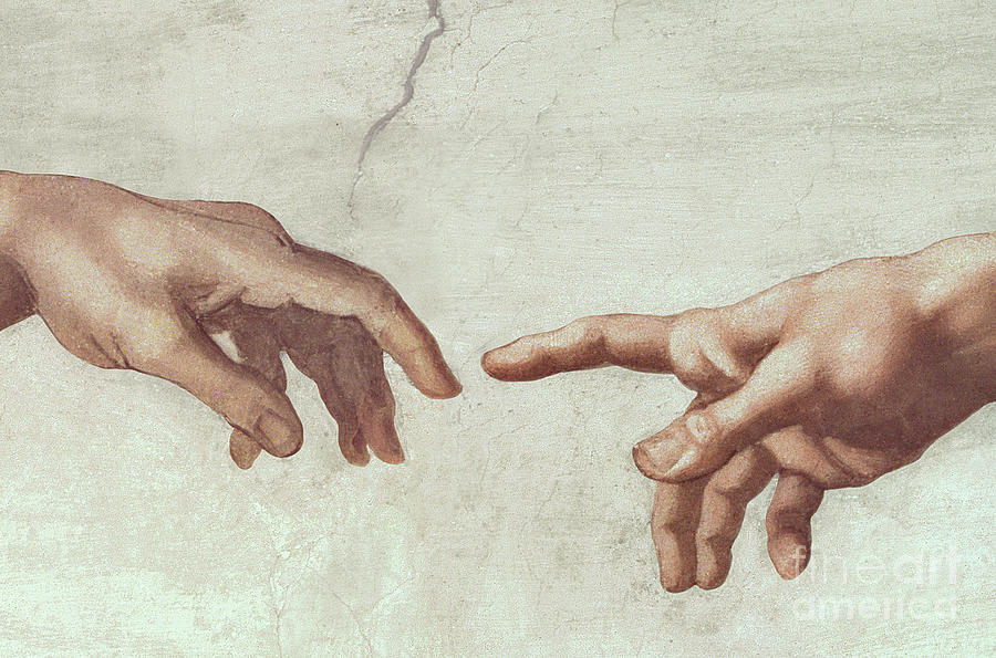 Hands Of God And Adam By Michelangelo Painting by Michelangelo ...