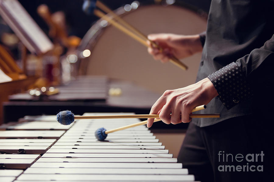 Theatrical Photograph - Hands Of Musician Playing The Vibraphone by Furtseff