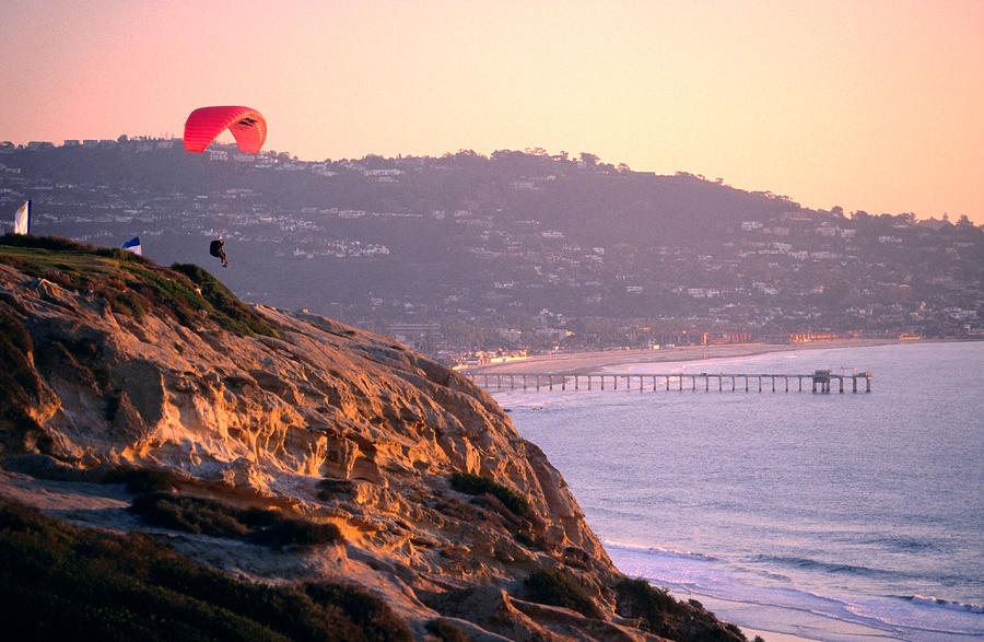 Hang-glider Taking Off, Torrey Pines Photograph by Eddie Brady