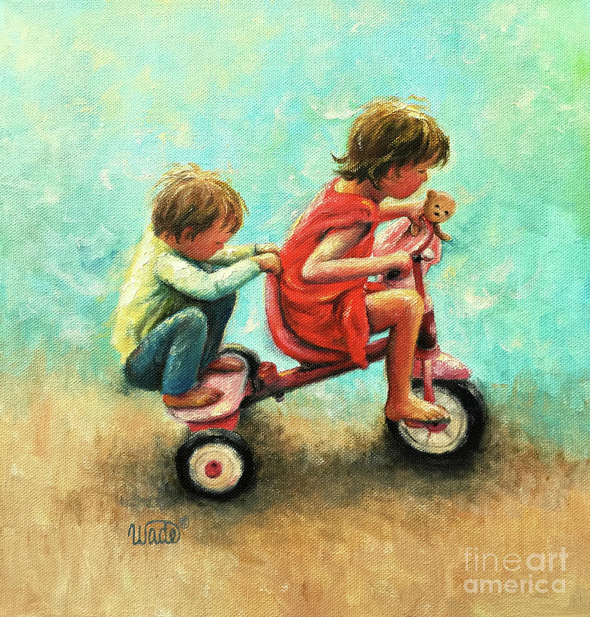 Hang On Brother And Sister Painting By Vickie Wade