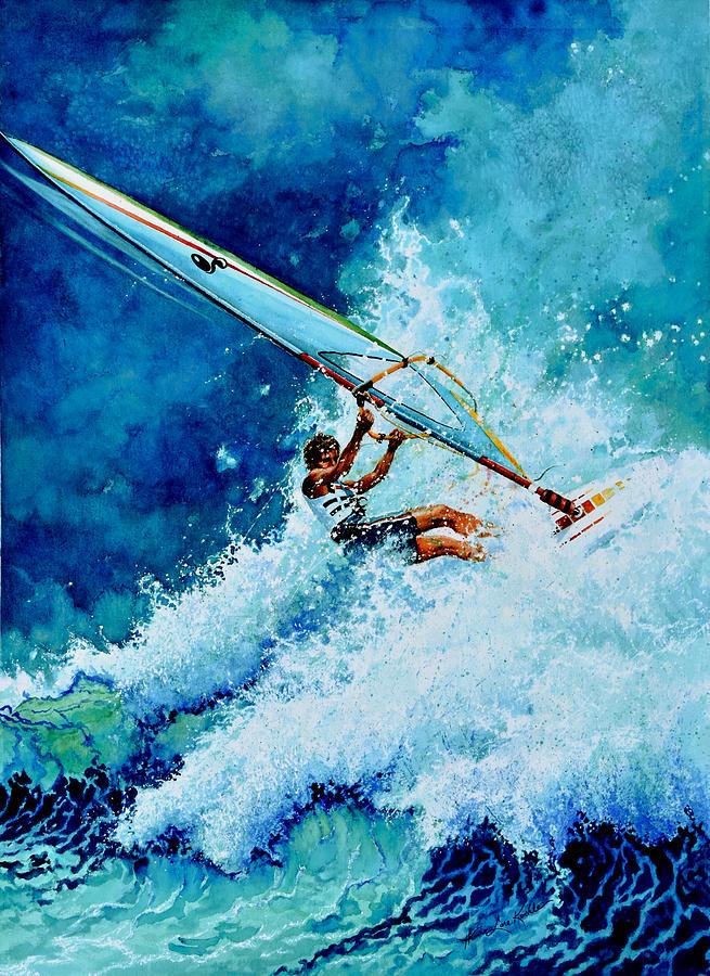 Surfing Painting - Hang Ten by Hanne Lore Koehler