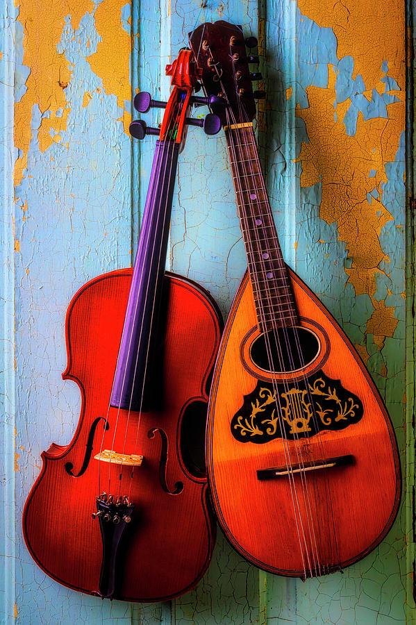 American Photograph - Hanging Violin And Mandolin by Garry Gay