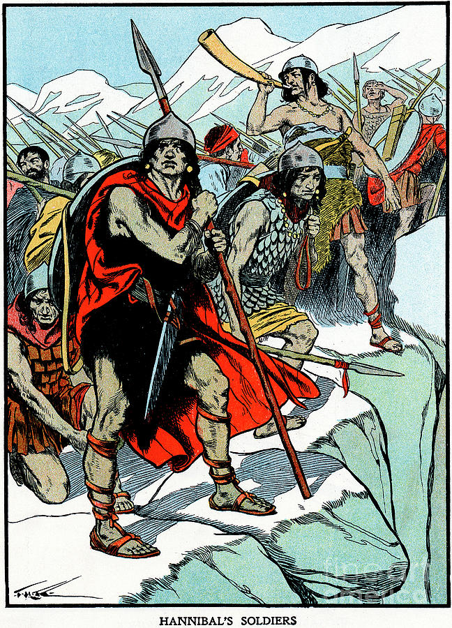 Hannibal Crossing The Alps, 218 Bc Drawing by Print Collector
