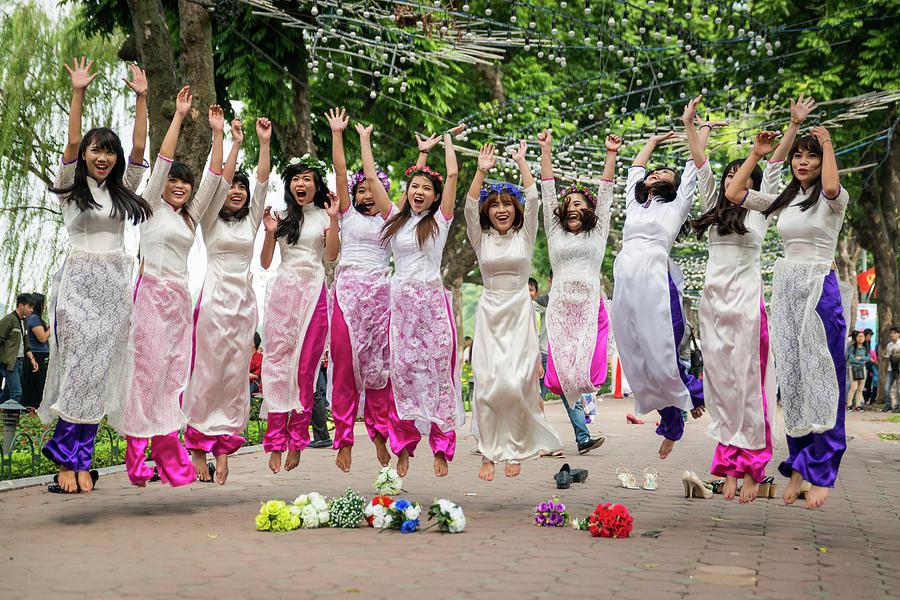 Hanoi Jumping Girls by Ian Robert Knight