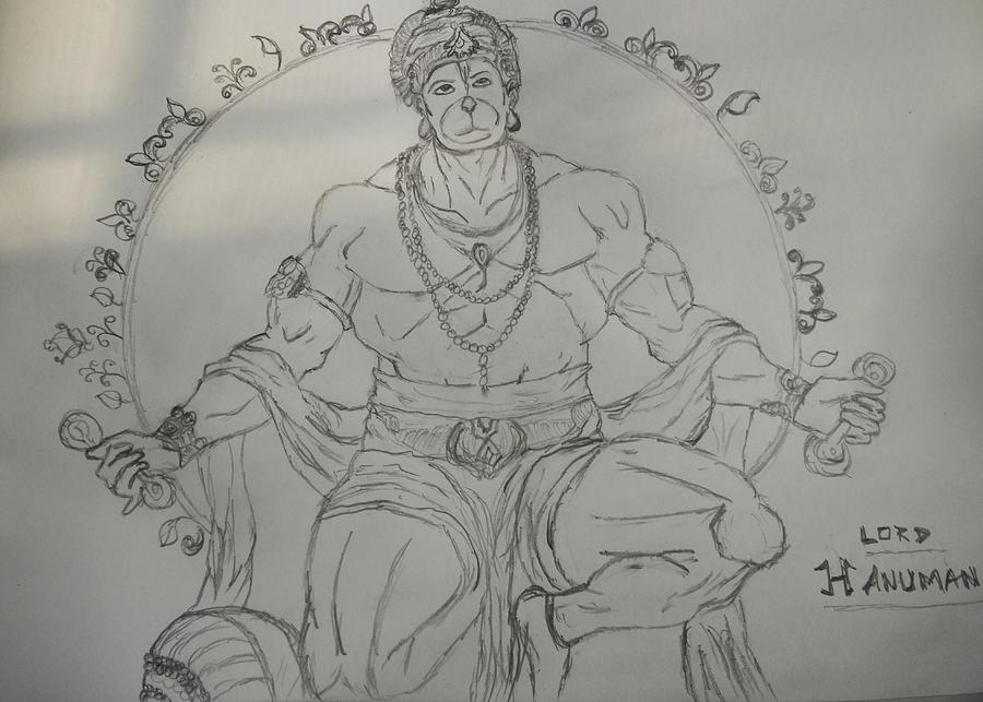 Hanuman Drawing By Abhishek Gupta