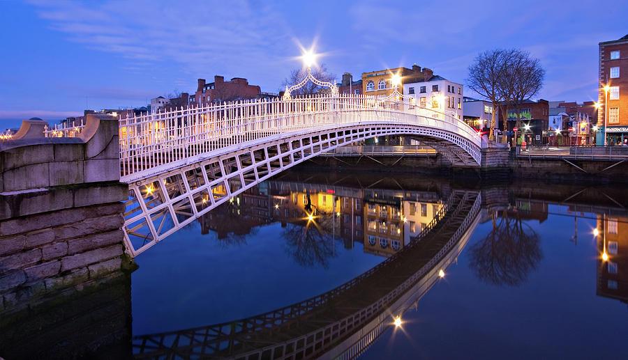 Ha'penny Bridge Photograph - Hapenny Bridge at Blue Hour by Barry O Carroll