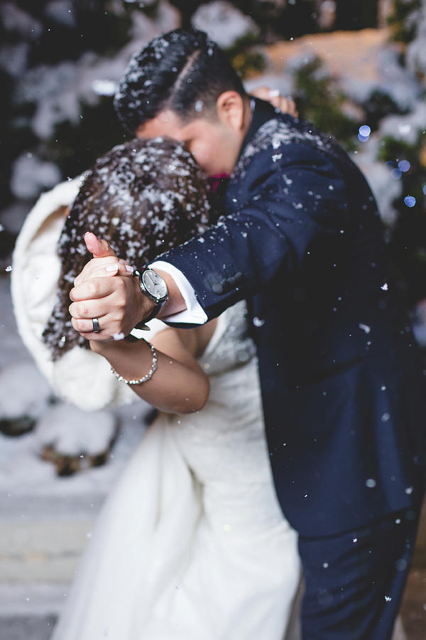 Snow Photograph - Happiness Is Kissing In Snow by Angie Gonzalez