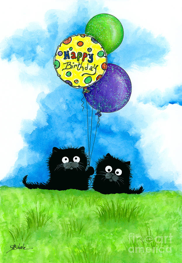 Happy Birthday Cats Painting By AmyLyn Bihrle