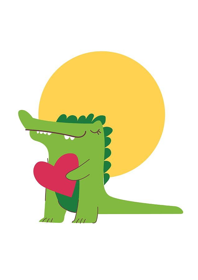 Adorable Digital Art - Happy Crocodile Holding A Big Heart by Passion Loft