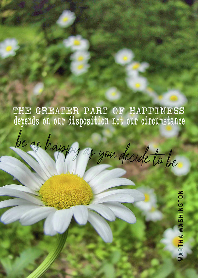 Daisy Photograph - Happy Daisy Quote by JAMART Photography