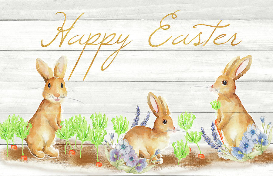 Happy Mixed Media - Happy Easter Bunnies (rectangle) by Andi Metz