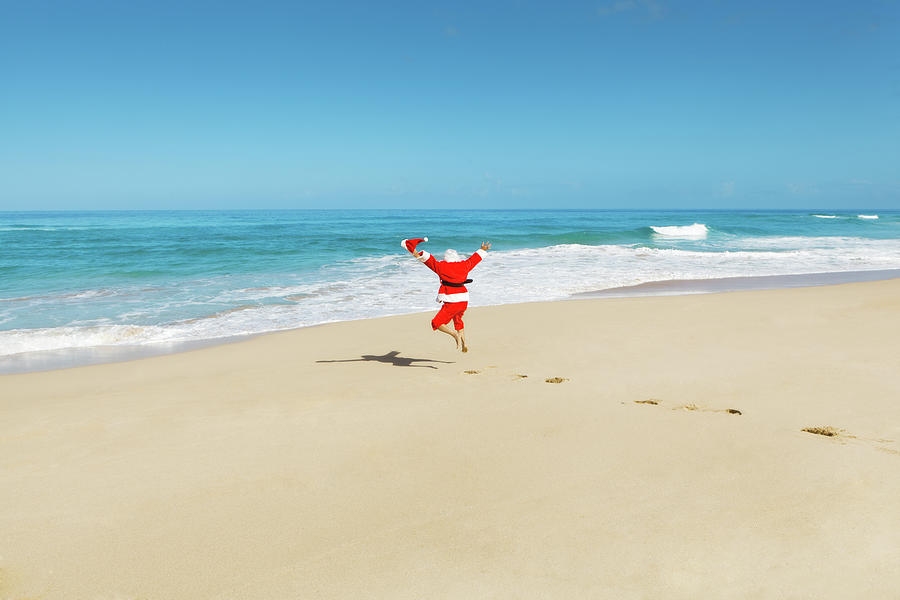 Happy Excited Jumping Santa Claus On Photograph by Yinyang