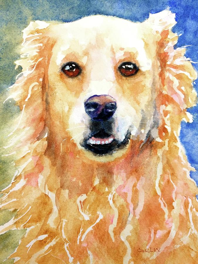 Happy Golden Retriever by Carlin Blahnik CarlinArtWatercolor