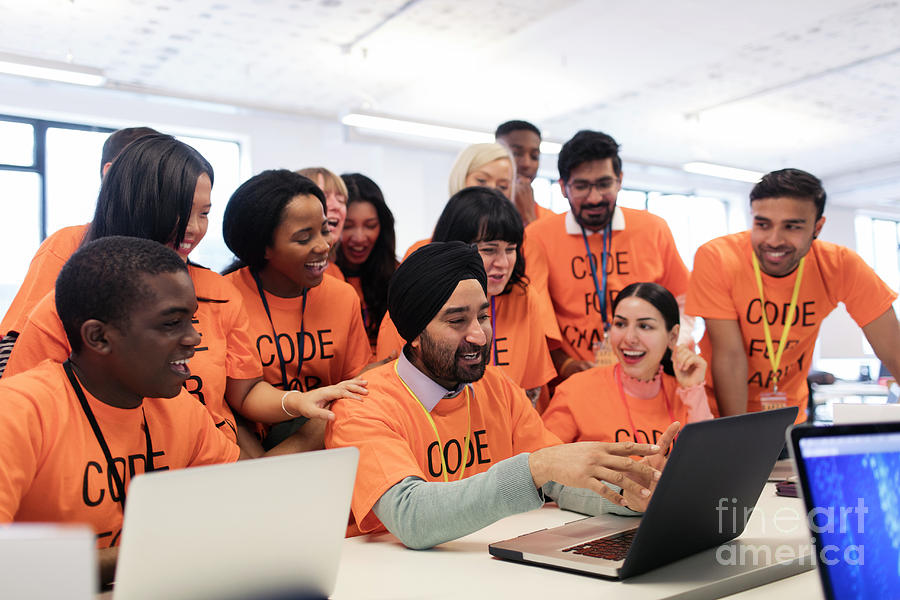 Accessibility Photograph - Happy Hackers At Laptop Coding At Hackathon by Caia Image/science Photo Library