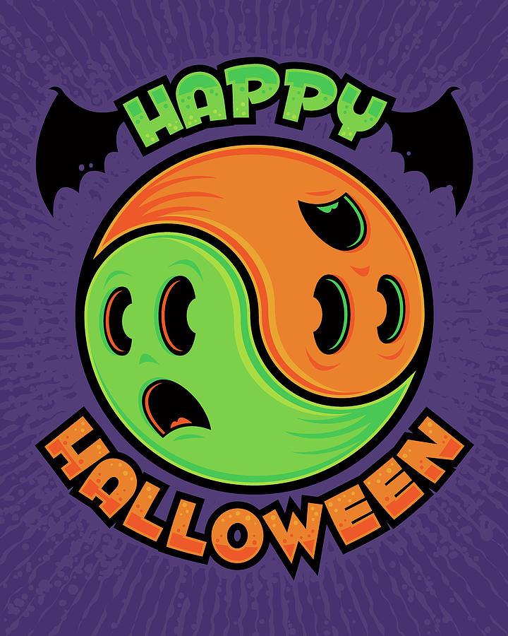 Yin Yang Digital Art - Happy Halloween Ghost Yin-yang by John Schwegel