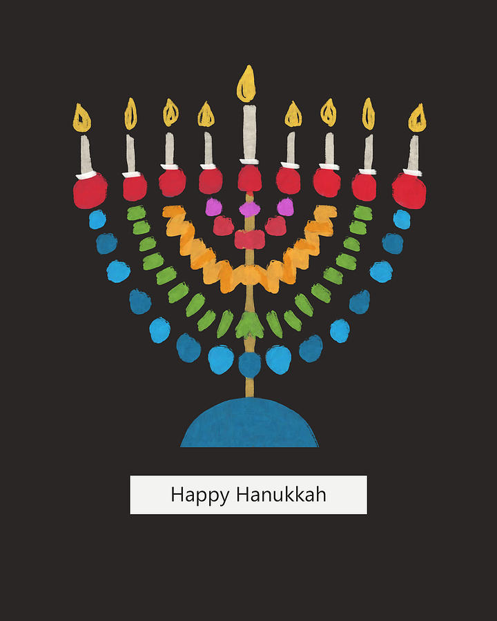 Hanukkah Mixed Media - Happy Hanukkah Modern Menorah- Art By Linda Woods by Linda Woods