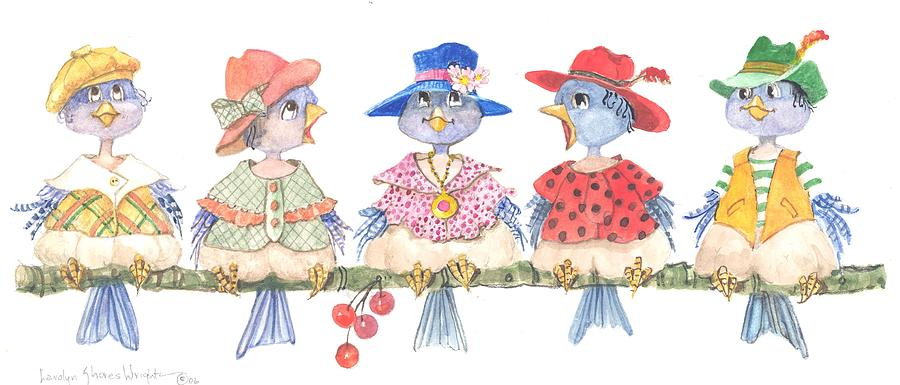 Birds Painting - Happy Hatters by Carolyn Shores Wright