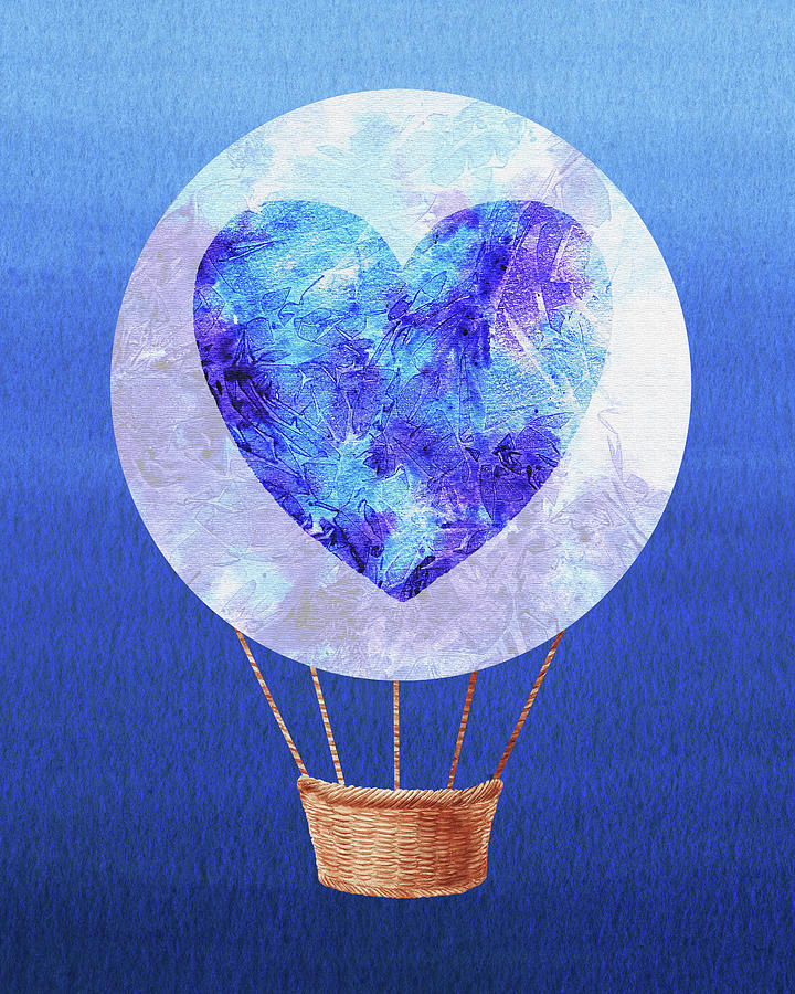 Happy Heart Hot Air Balloon Watercolor Vii Painting