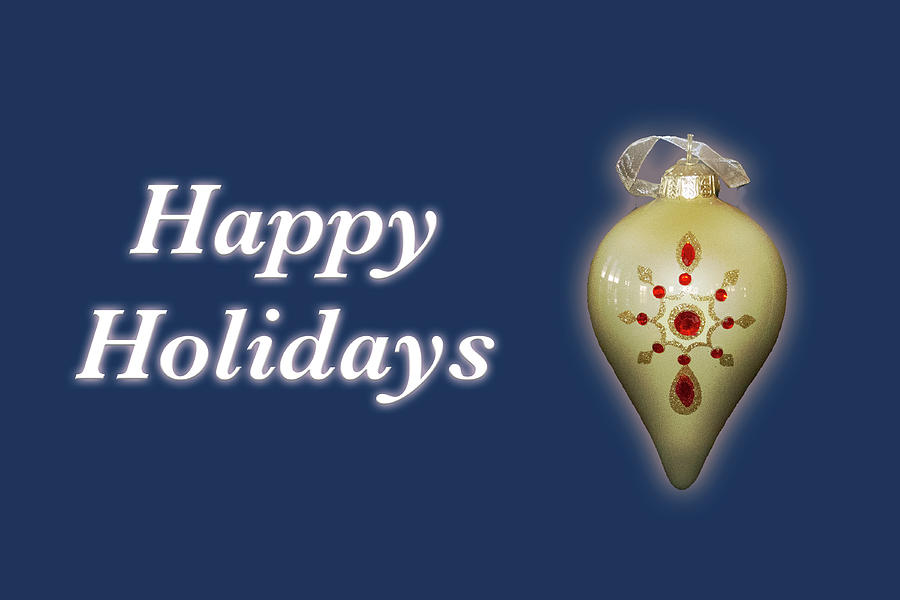 Happy Holidays Ornament Blue by MARVIN BOWSER