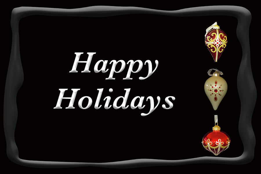 Happy Holidays Ornaments Black by MARVIN BOWSER