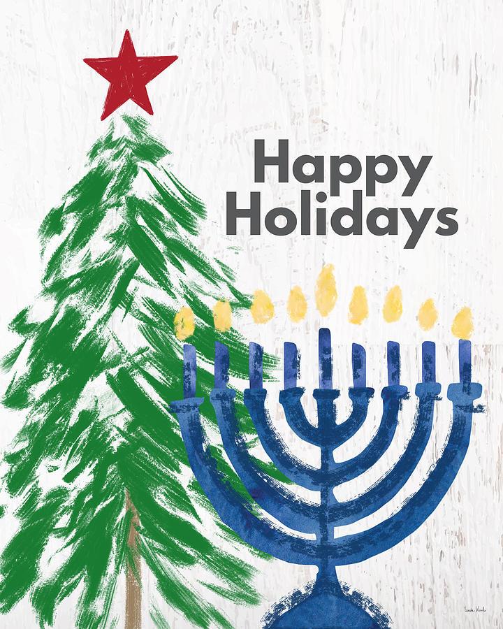 Holidays Mixed Media - Happy Holidays Tree And Menorah- Art By Linda Woods by Linda Woods