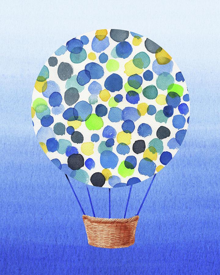 Happy Hot Air Balloon Watercolor II by Irina Sztukowski
