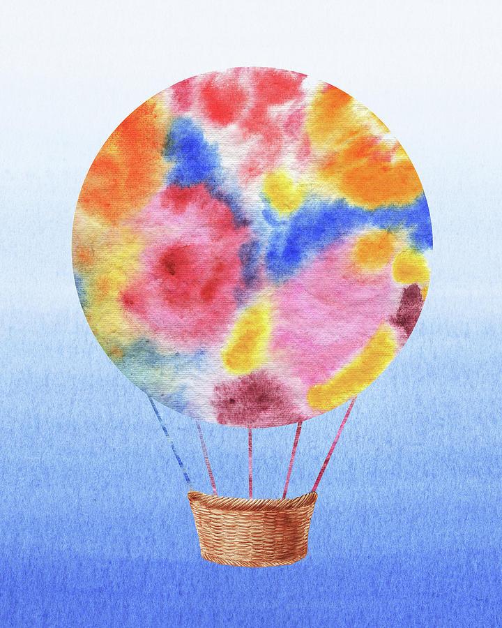 Happy Hot Air Balloon Watercolor III by Irina Sztukowski