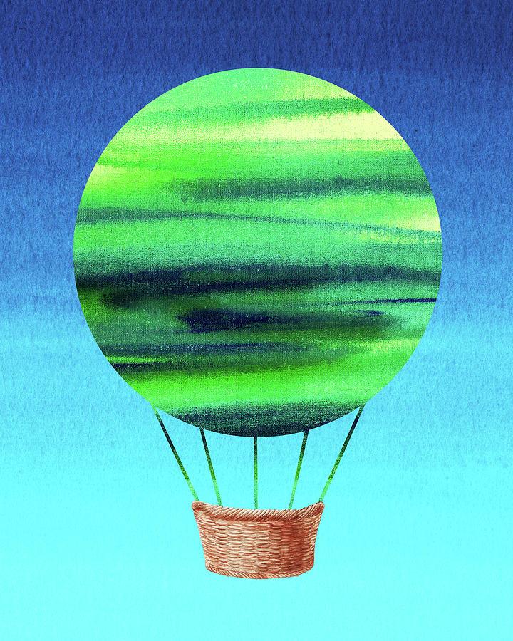 Happy Hot Air Balloon Watercolor VIII  by Irina Sztukowski