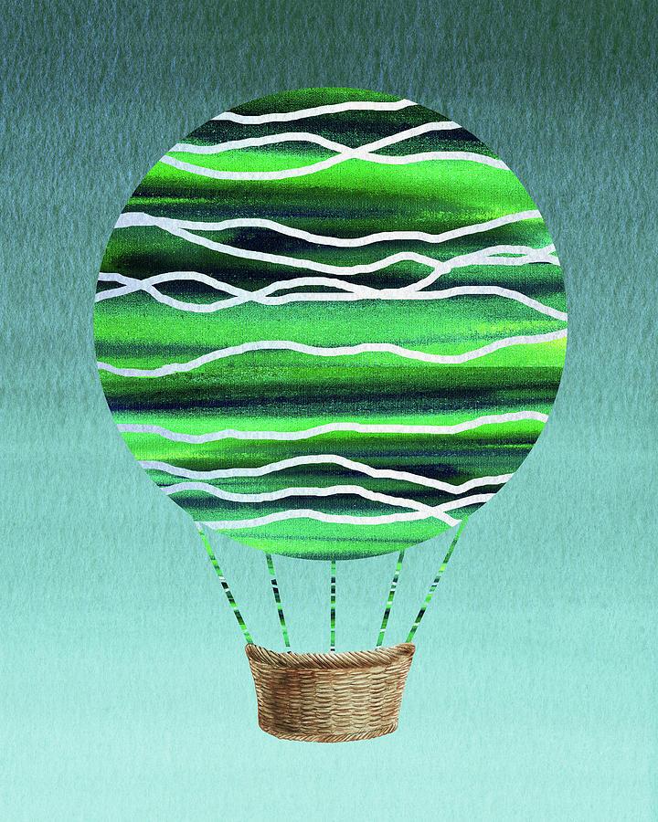Happy Hot Air Balloon Watercolor X by Irina Sztukowski
