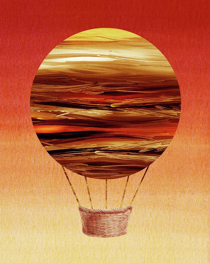 Happy Hot Air Balloon Watercolor XII by Irina Sztukowski