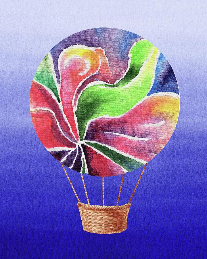 Happy Hot Air Balloon Watercolor Xxv Painting