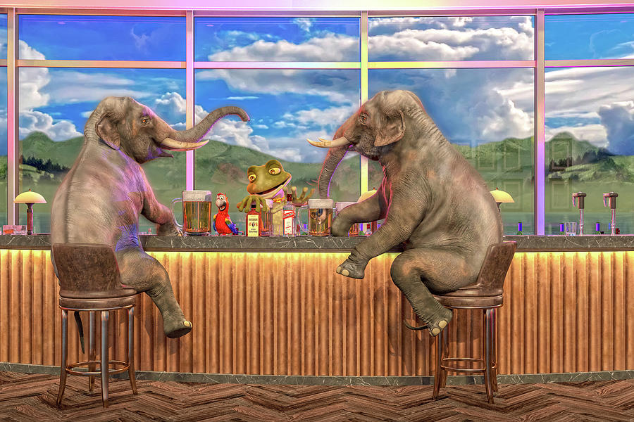 Bar Digital Art - Happy Hour by Betsy Knapp