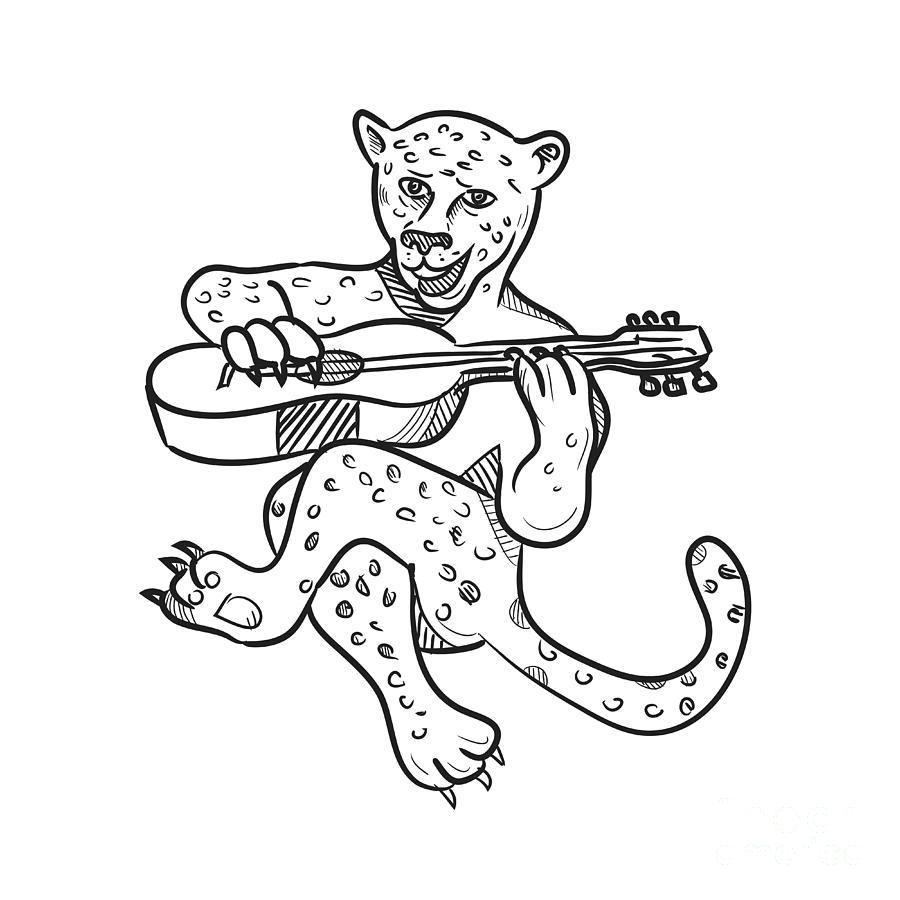 Happy Leopard Playing Acoustic Guitar Cartoon Digital Art By Aloysius Patrimonio