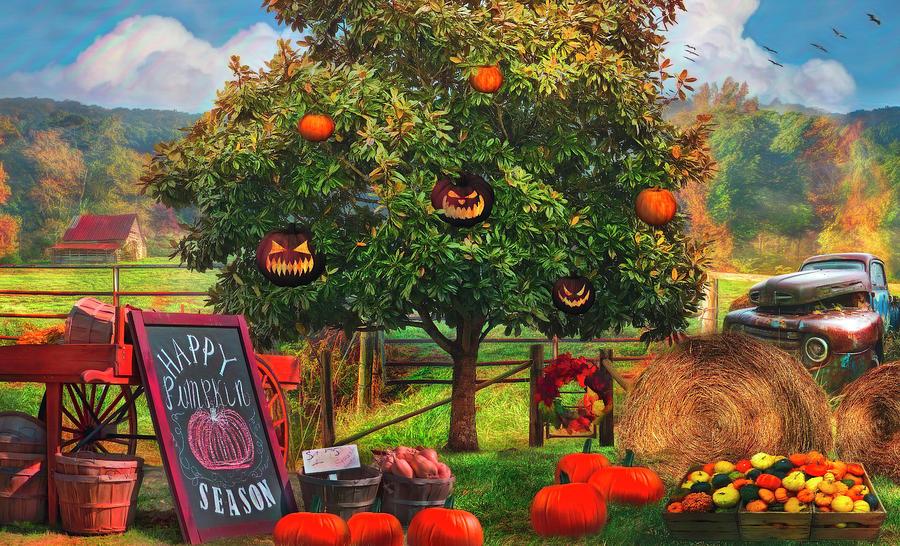Happy Pumpkin Season Painting by Debra and Dave Vanderlaan