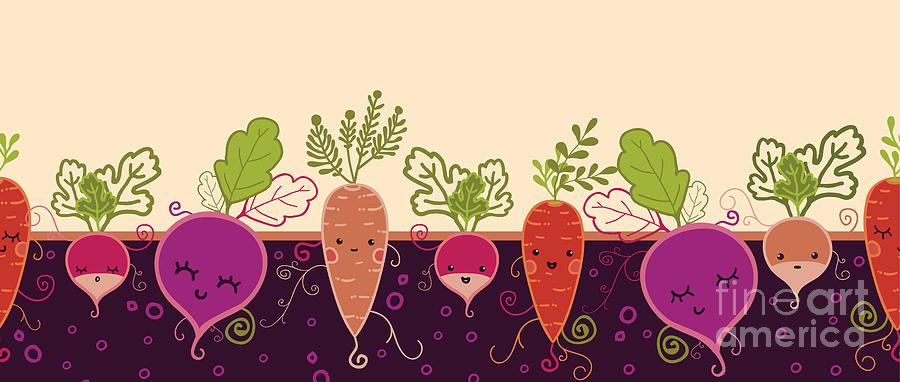 Beauty Digital Art - Happy Root Vegetables Horizontal by Oksancia