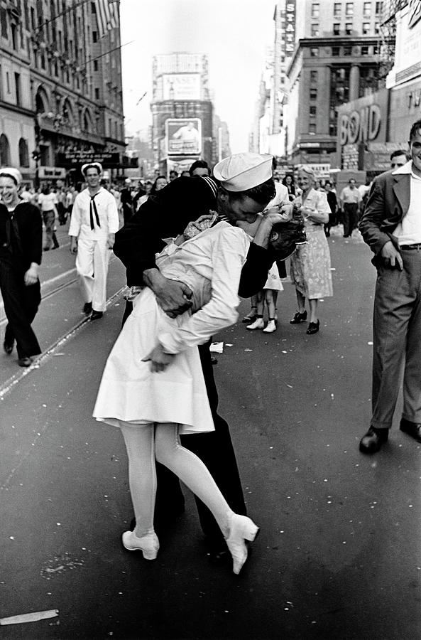 Happy Sailor Kissing Nurse In Times Photograph by Alfred Eisenstaedt