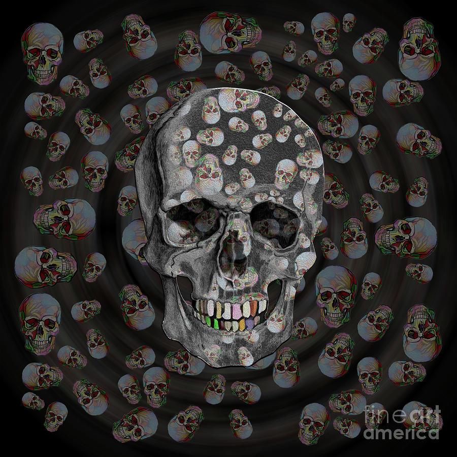 Happy Skull Random Pattern in Black by Diego Taborda