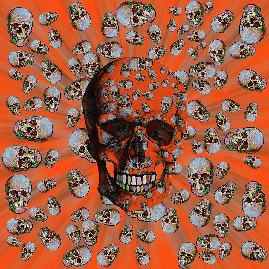 Happy Skull Random Pattern - Orange Bkgrnd by Diego Taborda