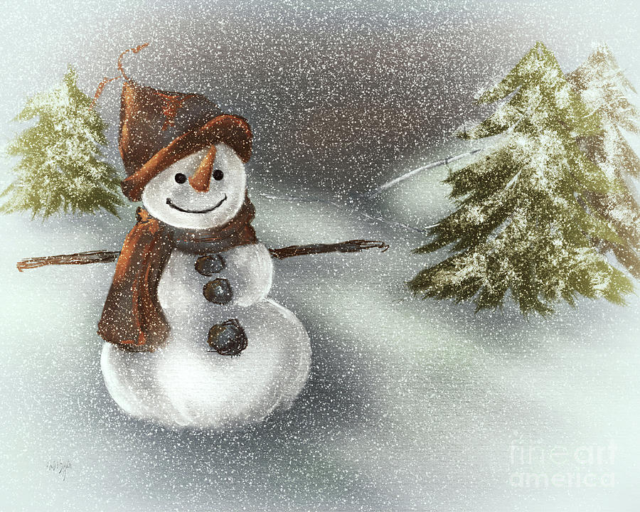 Happy Snowman In The Snow by Lois Bryan