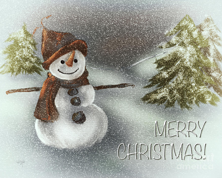 Happy Snowman Merry Christmas by Lois Bryan