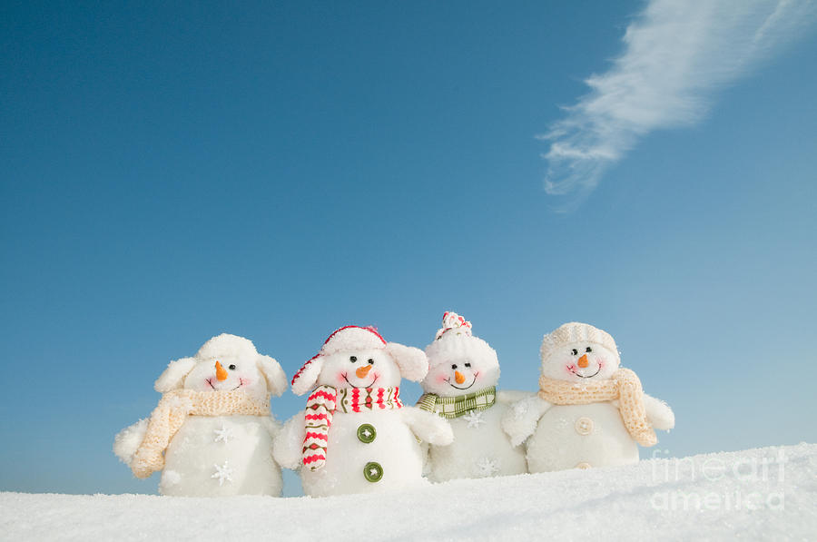 Small Photograph - Happy Snowman Team by Gorillaimages